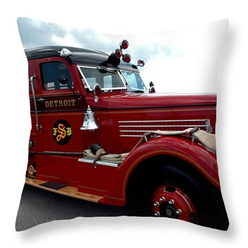 Fire Truck Selfridge Michigan Throw Pillow