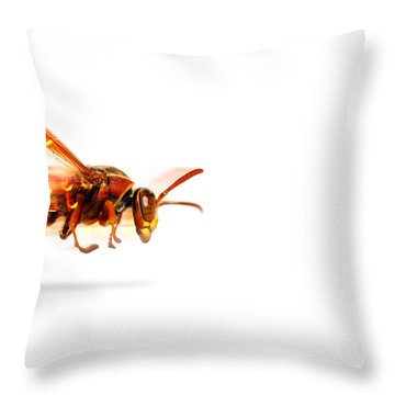 Fire Wasp Racing At Scorching Speed Throw Pillow
