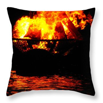 Fire Water Illuminates The Night Throw Pillow