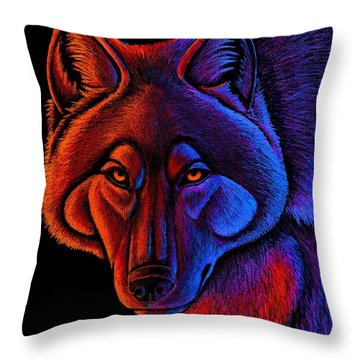 Fire Wolf Throw Pillow