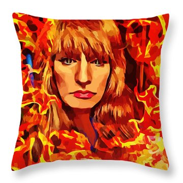 Fire Woman Abstract Fantasy Art Throw Pillow
