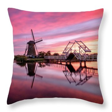 Fired Sky Kinderdijk Throw Pillow