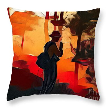 Firefighter On White Draw Fire Throw Pillow