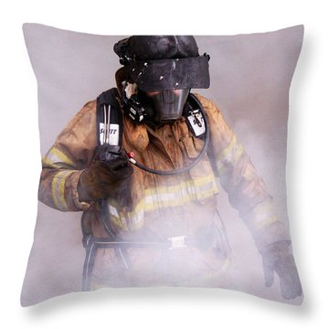Firefighter Throw Pillow by Wade Aiken