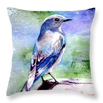 Firehole Bridge Bluebird - Female Throw Pillow
