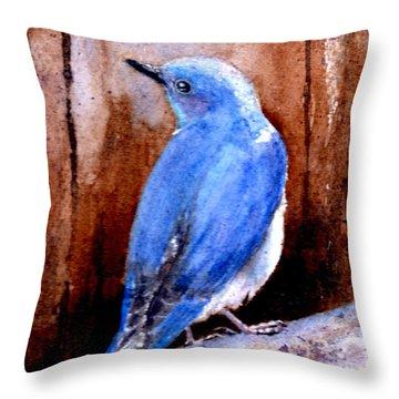 Firehole Bridge Bluebird - Male Throw Pillow