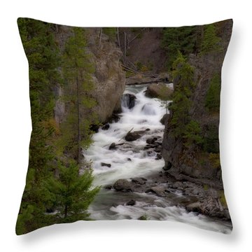Throw Pillow featuring the photograph Firehole Canyon by Steve Stuller