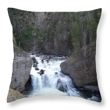 Throw Pillow featuring the photograph Firehole Falls by Charles Robinson