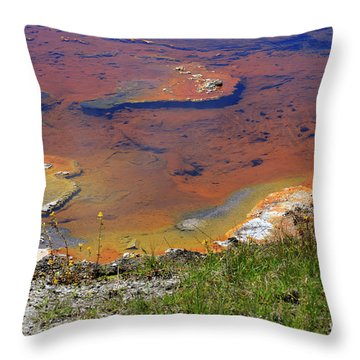 Firehole Lake Yellowstone National Park Throw Pillow by Louise Heusinkveld