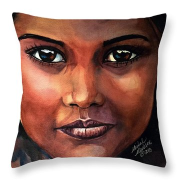 Throw Pillow featuring the painting Firelight by Michal Madison
