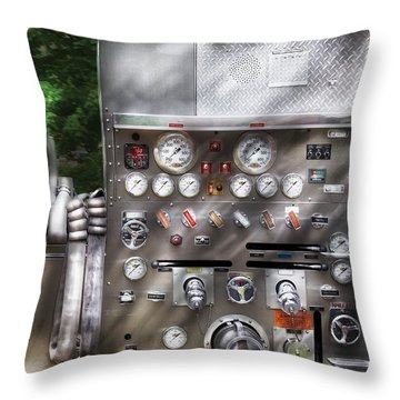 Fireman - Fireman's Controls Throw Pillow by Mike Savad