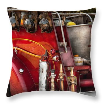 Fireman - Ready For A Fire Throw Pillow by Mike Savad