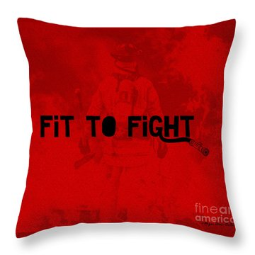 Fireman In Red Throw Pillow by Megan Dirsa-DuBois
