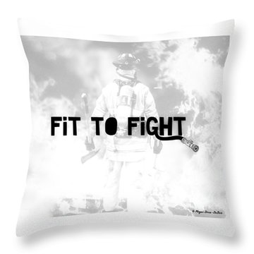 Fireman In White Throw Pillow by Megan Dirsa-DuBois