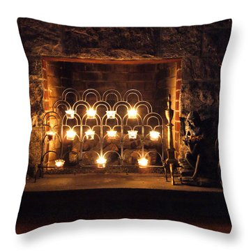Fireplace Glow Throw Pillow