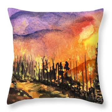 Fires In Our Mountains Tonight Throw Pillow