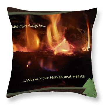 Fireside Christmas Greeting Throw Pillow by DigiArt Diaries by Vicky B Fuller