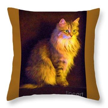 Fireside Feline Throw Pillow