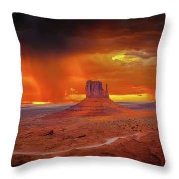 Firestorm Over The Valley Throw Pillow