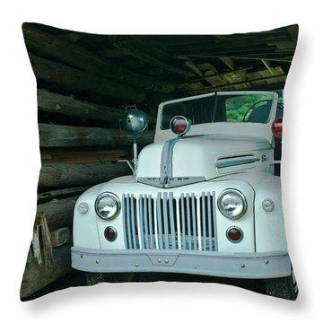 Firetruck In A Barn Throw Pillow