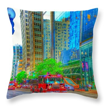 Throw Pillow featuring the photograph Firetruck In Chicago by Marianne Dow