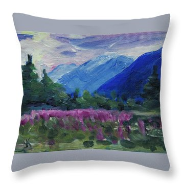 Throw Pillow featuring the painting Fireweed At Outer Point Alaska by Yulia Kazansky