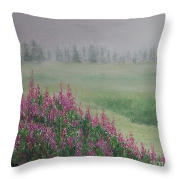 Throw Pillow featuring the painting Fireweeds Still In The Mist by Stanza Widen
