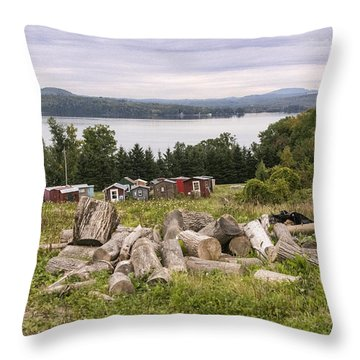 Firewood And Ice Houses Throw Pillow