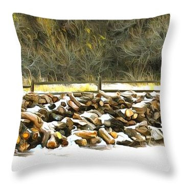 Throw Pillow featuring the photograph  Floyd Snyder by Firewood in the Snow at Fort Tejon
