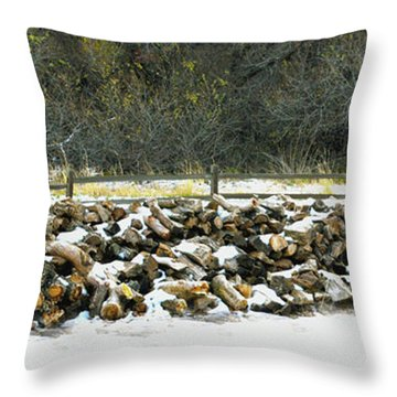 Throw Pillow featuring the photograph Firewood In The Snow At Fort Tejon by Floyd Snyder