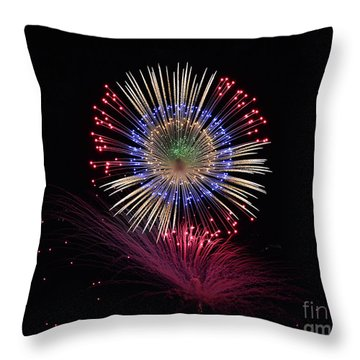 Firework Close-up Throw Pillow by Stephan Grixti