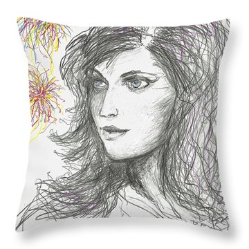 Firework Throw Pillow by Denise Fulmer
