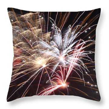 Fireworks Abstract 30 2015 Throw Pillow by Mary Bedy