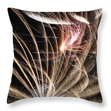 Fireworks Abstract 35 2015 Throw Pillow by Mary Bedy
