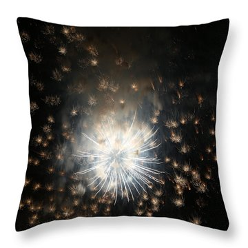 Fireworks Abstract 40 2015 Throw Pillow by Mary Bedy