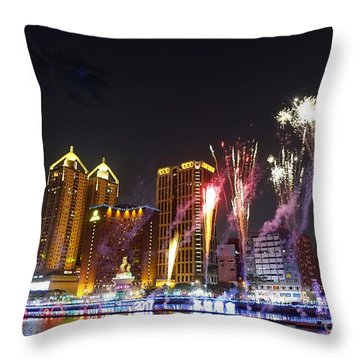 Throw Pillow featuring the photograph Fireworks Along The Love River In Taiwan by Yali Shi