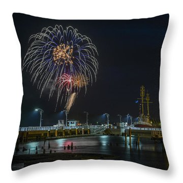 Fireworks And 17th Street Docks Throw Pillow