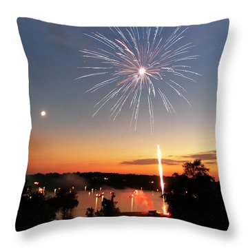Fireworks And Sunset Throw Pillow
