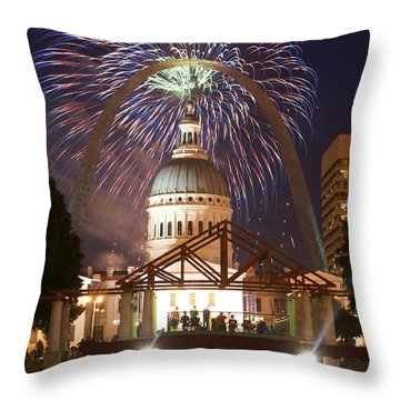 Fireworks At The Arch 1 Throw Pillow by Marty Koch