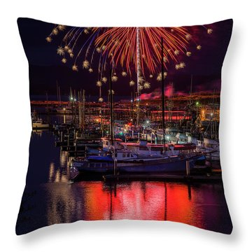Fireworks At The Docks Throw Pillow