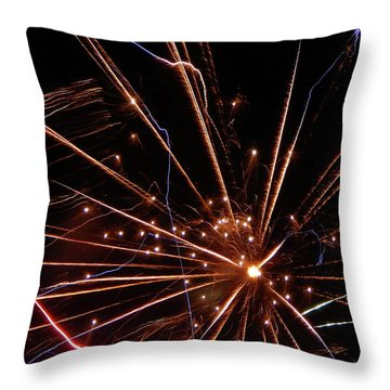 Throw Pillow featuring the photograph Fireworks Blast #0703 by Barbara Tristan