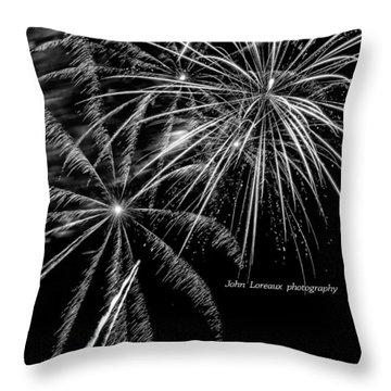 Fireworks Bw Throw Pillow by John Loreaux
