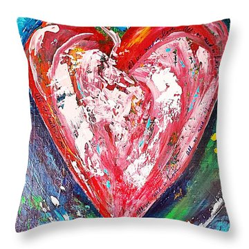 Throw Pillow featuring the painting Fireworks by Diana Bursztein