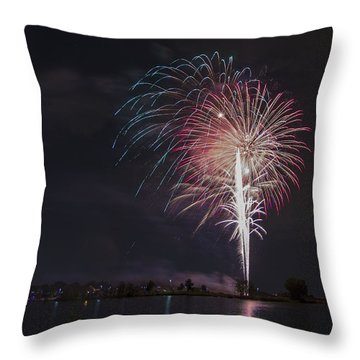 Fireworks Display On The Lake Throw Pillow by Chris Thomas