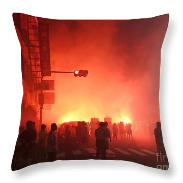 Throw Pillow featuring the photograph Fireworks During A Temple Procession by Yali Shi