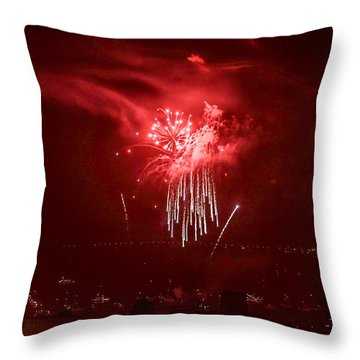 Fireworks In Red And White Throw Pillow