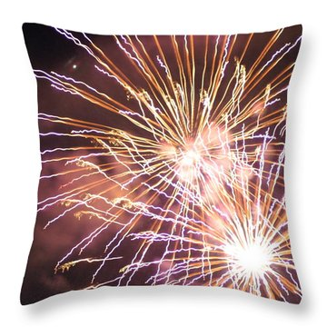 Throw Pillow featuring the digital art Fireworks In The Park 3 by Gary Baird