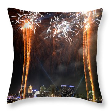 Fireworks Over Cincinnati Throw Pillow