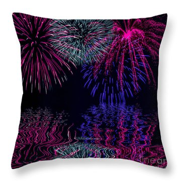 Fireworks Over Open Water 1 Throw Pillow by Naomi Burgess