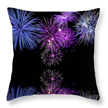 Fireworks Over Open Water 2 Throw Pillow by Naomi Burgess